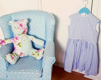 """Girls Lilac and White Gingham Dress with white piping """"AUTUMN""""  SIZE 3-4 years"""