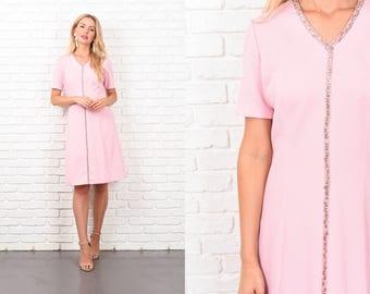 Vintage 70s Pink Mod Dress Sequin Striped A Line Short Sleeve Medium M 10359