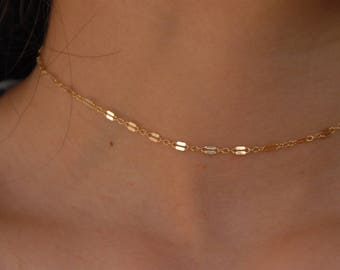 14 kt gold filled Flatted Sparkle Chain Choker Necklace