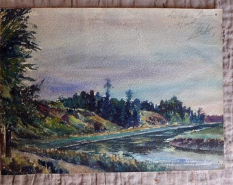 1925 French antique watercolour, river landscape painting, paper, Vintage Collectible