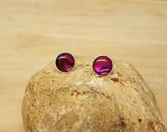 Red Abalone stud earrings. 925 sterling silver 8mm Post earrings. Paua shell earrings. Reiki jewelry uk