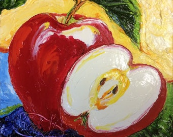 Red Apple  8x8 Inch Original Oil Painting by Paris Wyatt Llanso FREE SHIPPING