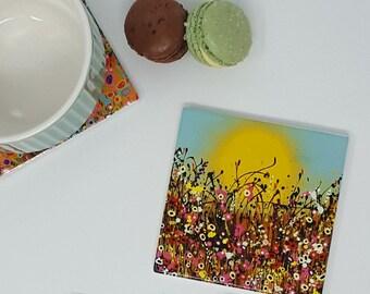 Original Design Single Ceramic Coaster with Art Print