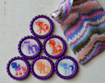 My Little Pony Magnets- MLP Bottlecap Magnets- Watercolor Ponies- Girl Birthday- Rainbow Dash, Pinkie Pie, Apple Jack, Twilight Sparkle