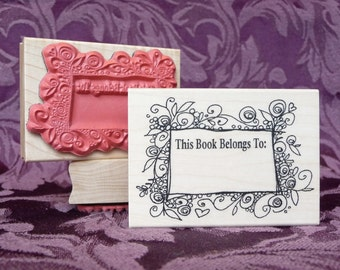 Botanical Bookplate Rubber Stamp from oldislandstamps