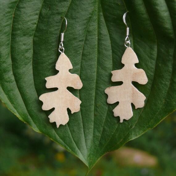 Oak Leaf Sterling Earrings, Silver Leaf Dangle earrings, Sterling Silver leaf earrings, Boho wood earrings, Natural autumn leaf jewelry