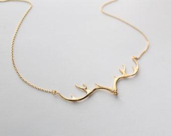 Antler Necklace, Deer Antler Charm, Reindeer, Deer Head Necklace