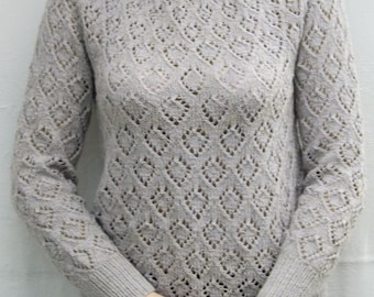 Linen sweater Lace knit sweater Pullover Handknit pullover Womens sweater