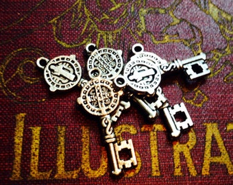 5pcs Tiny ST. BENEDICT KEY Religious Medals Protection From Evil