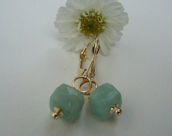 Amazonite cube, 14K solid gold, Leverback earwire