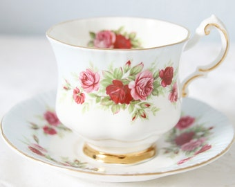 Vintage Paragon Lady Size Cup and Saucer, White and Pastel Blue, Red and Pink Roses Decor, England
