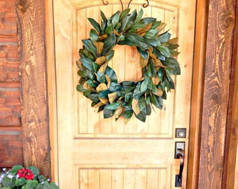 MAGNOLIA Wreath-Farmhouse Wreath-Large Magnolia Door Wreath-Outdoor Wreath-Rustic Door Wreaths-Housewarming Wreath-Wedding Gift-Gift for Mom