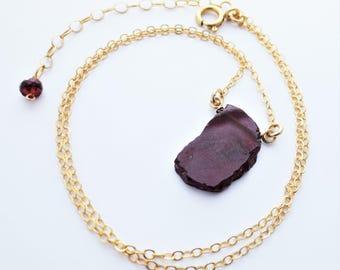 Garnet Gemstone Slice Gold Filled Necklace EE Designs