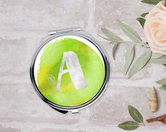 Personalized compact mirror, Romantic gifts for women, Initial pocket mirror, Lime watercolor mirror, Monogram Bridesmaids gift, CMin001-5