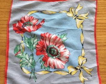 Vintage Blue and Red Poppy Floral Handkerchief Hanky- hanky,handkerchief, blue floral hanky, vintage handkerchief, brown floral hanky,