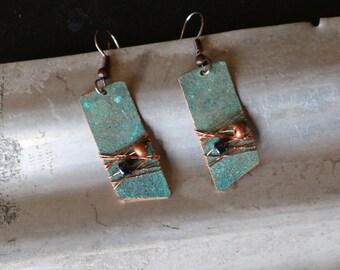 Copper earrings - Recycled Jewelry - Handmade copper Jewelry - patina jewelry - patina earrings - layered earrings - Dangling earrings