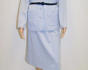 NOS NWT Vintage 70's Light Blue Skirt Suit Outfit by Graff Size 8 to 10 - Medium
