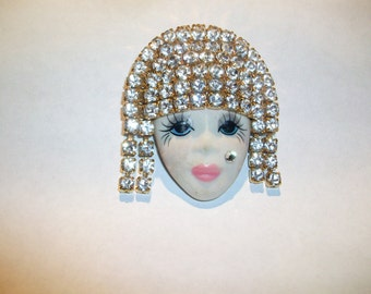 Porcelian Lady Head  Pin With Rhinestone Hair  Signed Morningstar