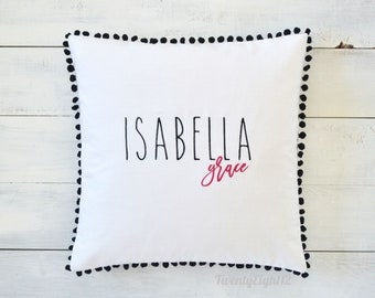 Monogrammed Pillow Cover - Personalized Pillow, Kids Monogrammed Pillow, Pillow with Name, Girls Pillow, Baby Shower Gift, Birthday Gift