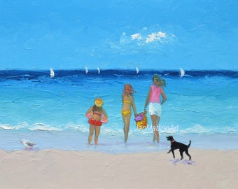 Beach painting, Beach Art, beach decor, beach scene, whimsical art, beach artwork, seaside art, seascape, ocean painting,Etsy Art,Jan Matson