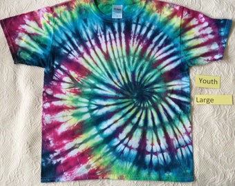 Youth Large Multi-Color Heathered Spiral Short Sleeve Tie Dye T-Shirt
