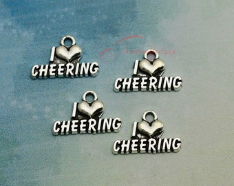 20PCS--20x13mm ,Cheering Charms, Antique Silver I love cheering Charm pendant, DIY supplies,Jewelry Making