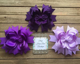 Purple Boutique Hair Bow | Lot Set of 3|  Plum Purple Lavender | Boutique Hair Bow Lot | Hair Bows for Girls | 4 inch or 5 inch Hair Bows