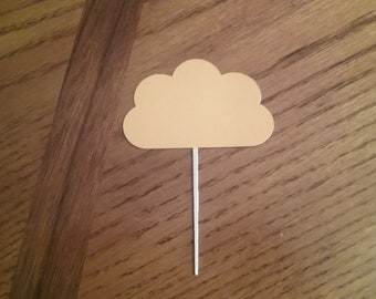 12 Cloud Cupcake Toppers! Choose your color! Double sided!