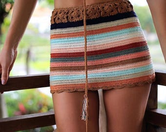 Crochet Striped Beach Skirt Festival Clothing Beachwear Jumpsuit Summer Trend
