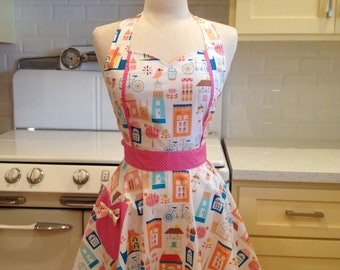 Retro Apron Birds Bicycles and Houses MAGGIE