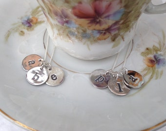 Solid silver handmade personalised mother's disc necklace