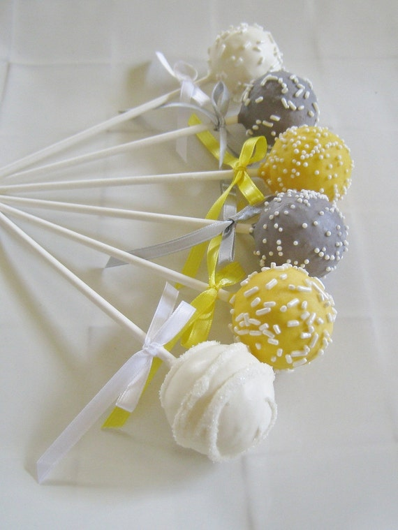 Cake Pops Yellow And Gray Baby Shower Cake Pops Made To Order