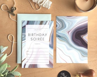 Fill In Invitation, Liquid Glass Birthday Soiree, Pack 10 including envelopes