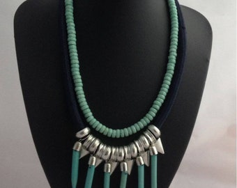 Spiky Tribal Necklace, Beaded necklace, statement Necklace, boho necklace, Tibetan necklace, Bib necklace, necklaces for women
