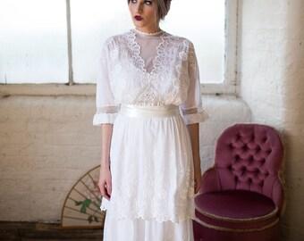 Antique Lace Wedding Dress. Edwardian Bridal Gown. White Wedding Dress.  Vintage 1900s Wedding Dress. Unique Bridal Gown. Titanic Era Dress.
