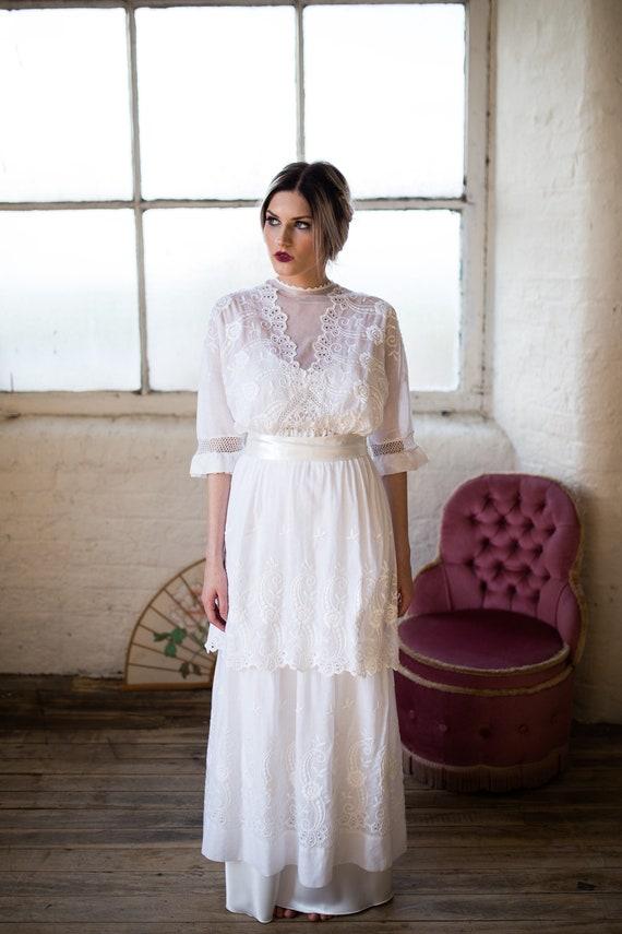 Antiker Spitze Brautkleid. Edwardian Brautkleid. Weißes