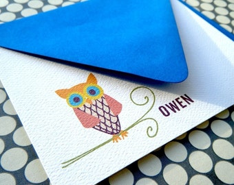 Little Owl Personalized Stationery and Sticker Set