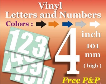 4 inch Vinyl Numbers Self Adhesive Decal *Sticky* Permanent *