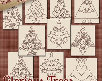 SALE Hand Embroidery Patterns Redwork Designs Glorious Trees in 4 Sizes PDF Instant Download Snow, Snowman, Winter, Christmas, Holiday