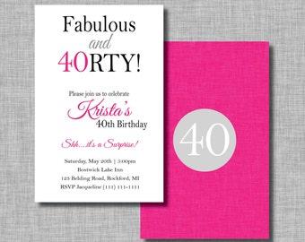 40th birthday invite etsy 40 and fabulous birthday party invitations surprise birthday invitations 40th birthday invitation milestone filmwisefo Choice Image