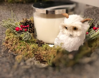 White Owl and Moss Candle Holder