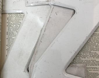 """Vintage industrial metal letter Z - metal marquee letter - rusty metal letter - metal letter 7.5"""" tall metal sign letter - worn metal"""
