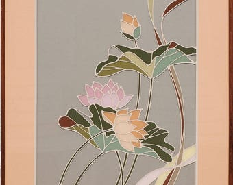 Gorgeous vintage painting on glass water lily lotus flower by Jung Park Korea