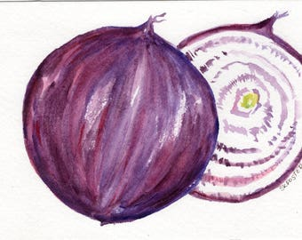 Purple Onions watercolor painting original, 5 x 7 watercolor kitchen, kitchen decor, culinary watercolor, art for kitchen