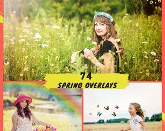 74 Spring Overlays, Photoshop Overlay, Sun Flare Overlays, Light , Rainbow Overlays, Butterfly Overlays,  Lights Overlays, Digital backdrop