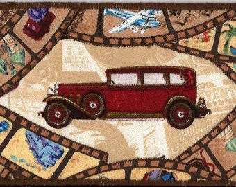 Travelin in slow motion fabric postcard, ROAD TRIP Fabric Postcard