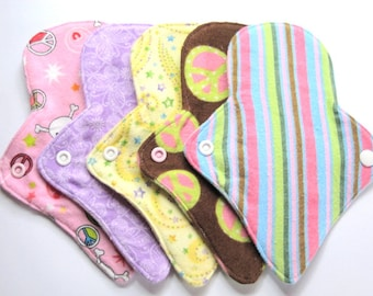 "8"" Reusable Flannel Thong Pantyliners - Set of 6 - Customize Your Fabrics"
