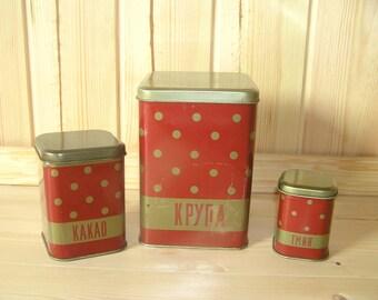Soviet polka dot tin set Polka dot kitchen decor Polka dot food containers Kitchen storage