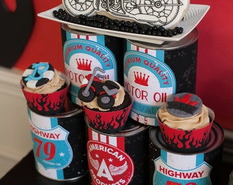 Motorcycle Birthday Party Printable Oil Can Labels - 3 SIZES! - INSTANT DOWNLOAD