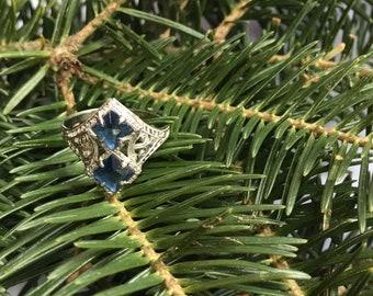 Vintage Blue Square Gem Filagree Ring size 6 3/4  10K White Gold